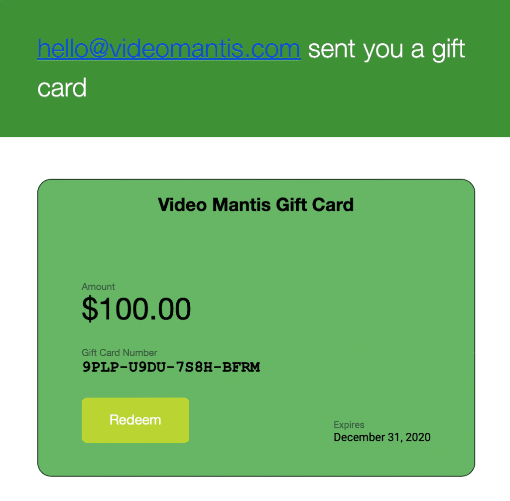 Video Mantis Gift Card E-Mail